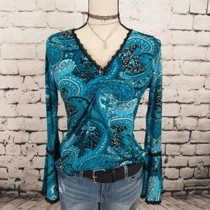 Impressions Bell Sleeve Paisley Top Petite S